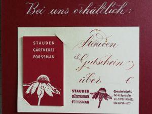Gutschein von Stauden Forssman Beste Bio Stauden aus Bayern